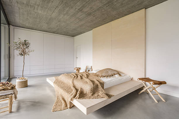 Bedroom with wooden ceiling stock photo