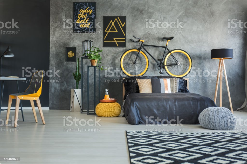 Bedroom with working area stock photo