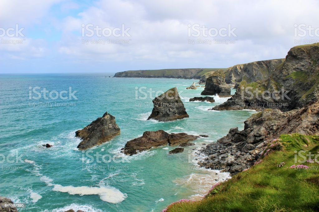 Bedruthan at high tide stock photo