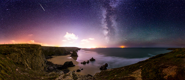 Bedruthan Steps At Night Stock Photo - Download Image Now