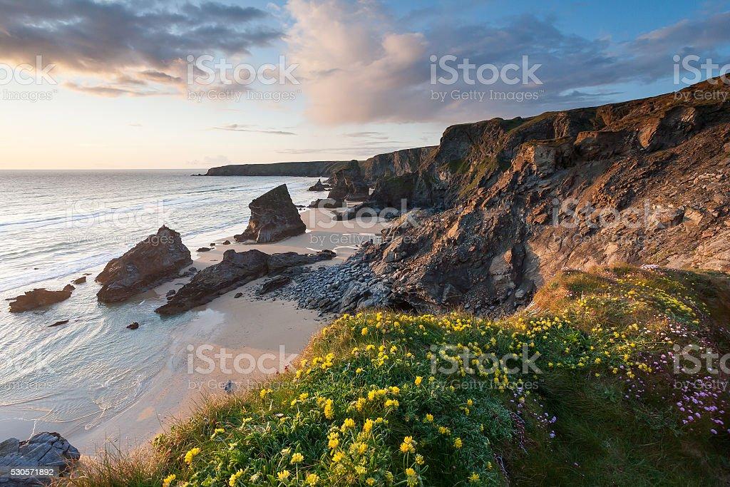 Bedruthan Steps Cornwall England UK stock photo