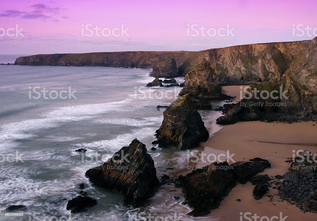 Bedruthan Steps Cornwall stock photo