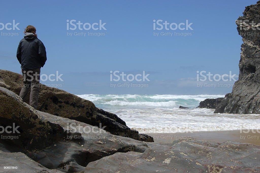 Bedruthan Steps Girl stock photo