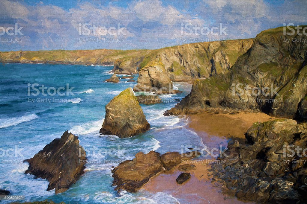 Bedruthan Steps North Cornwall coast between Padstow and Newquay illustration stock photo