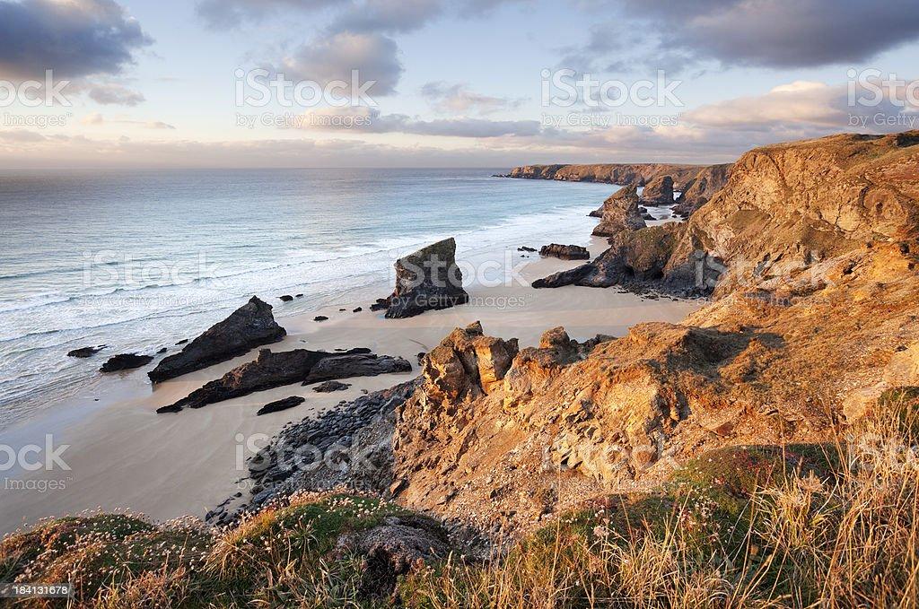 Bedruthan Steps on the Cornish Coast stock photo