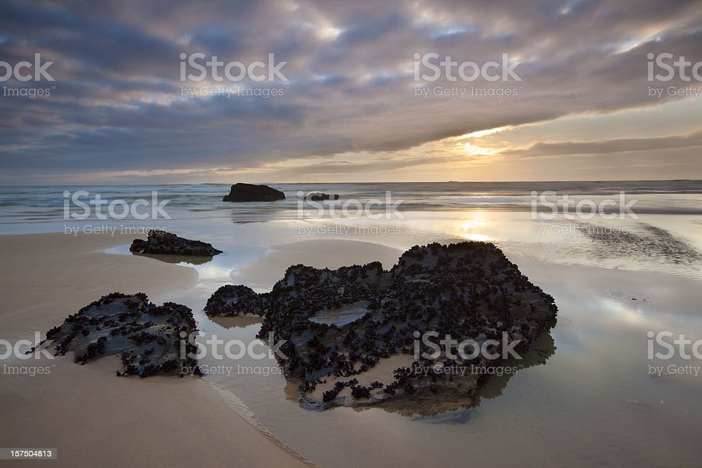 Bedruthan Steps Sunset. stock photo