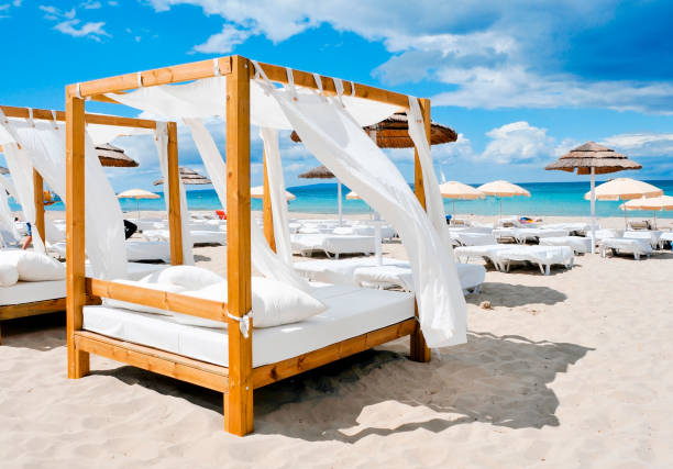 beds in a beach club in Ibiza, Spain stock photo