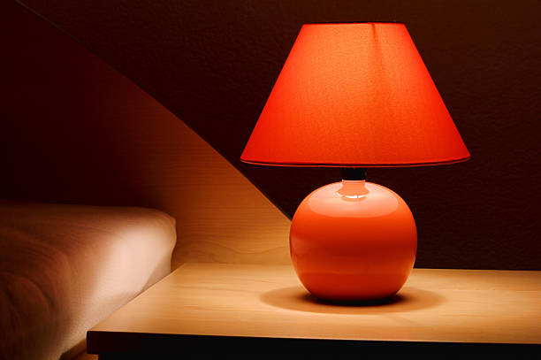bedside lamp stock photo