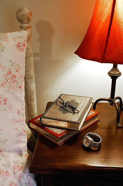 bedside reading stock photo