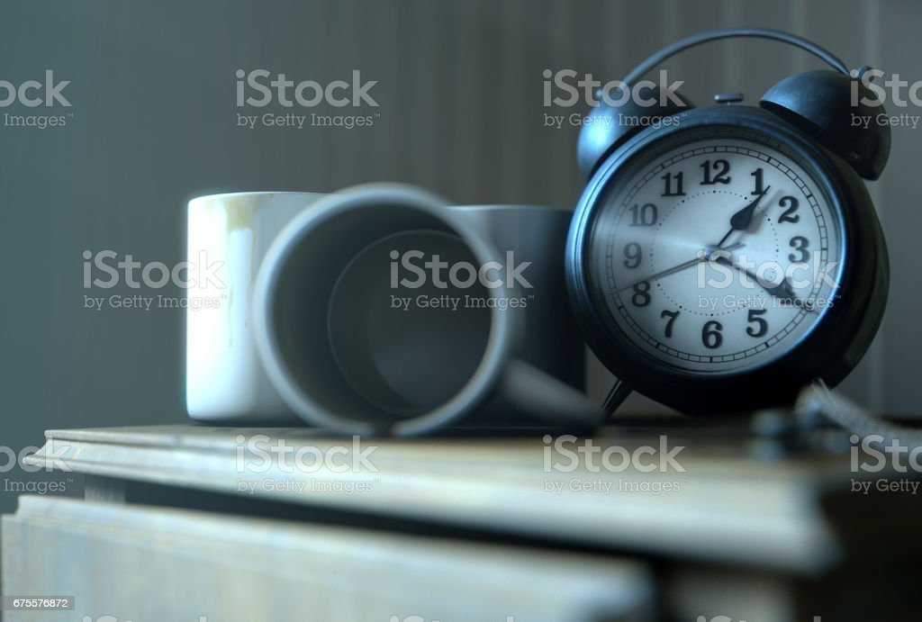 Bedside Table Insomnia Scene foto de stock royalty-free