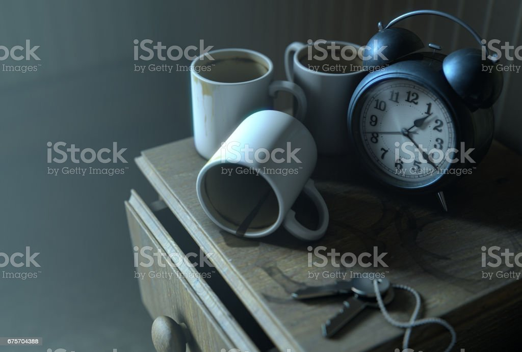 Bedside Table Insomnia Scene royalty-free stock photo