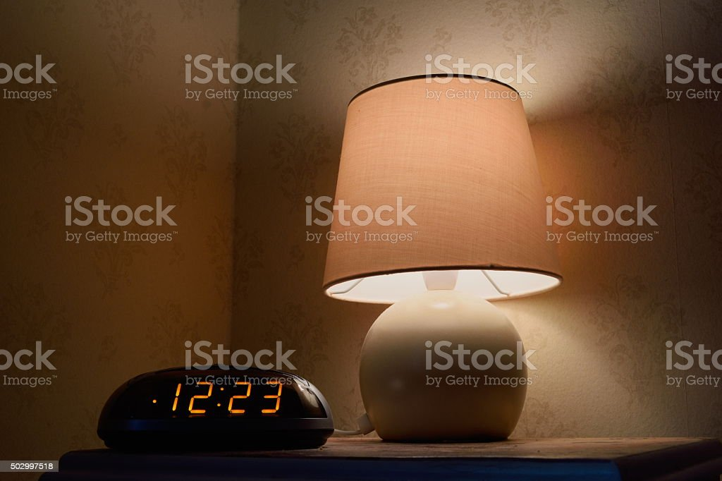 Bedside table stock photo
