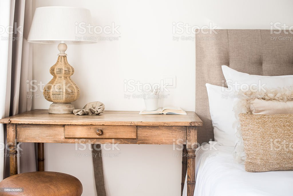 Attractive Bedside Table Stock Photo