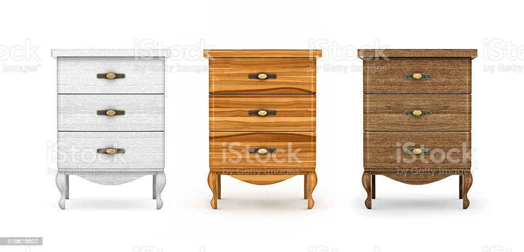 bedside tables, a collection of wooden furniture stock photo