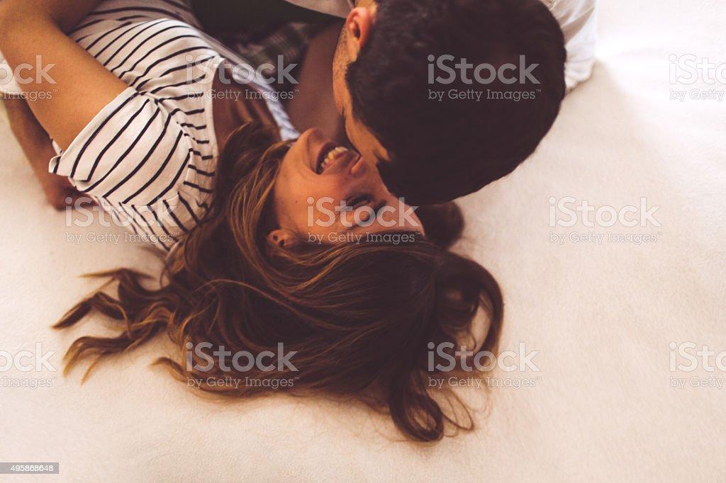Bedtime romance stock photo