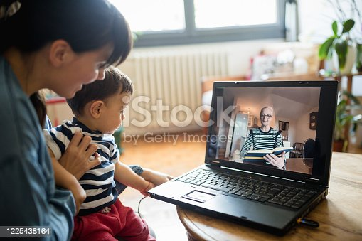Grandmother reading bedtime story via video call. Belgrade, Serbia