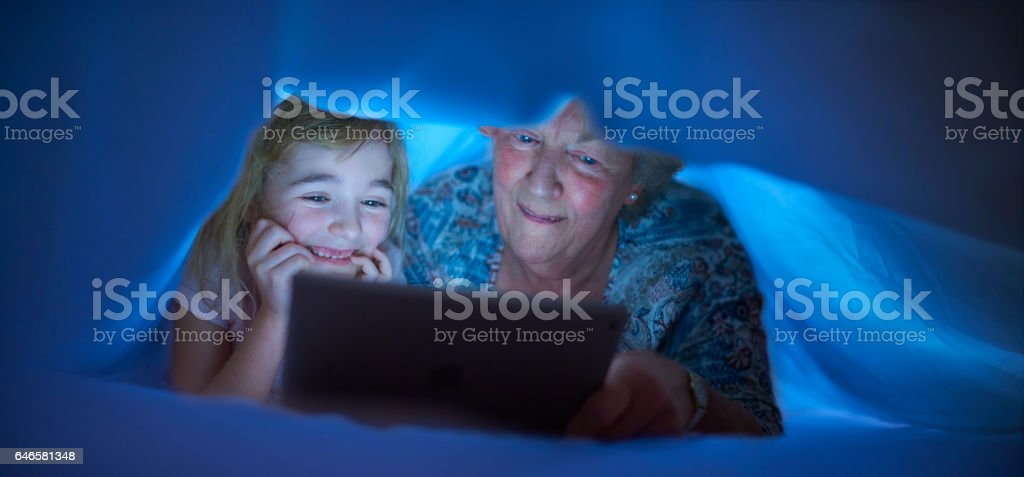 bedtime with gran stock photo