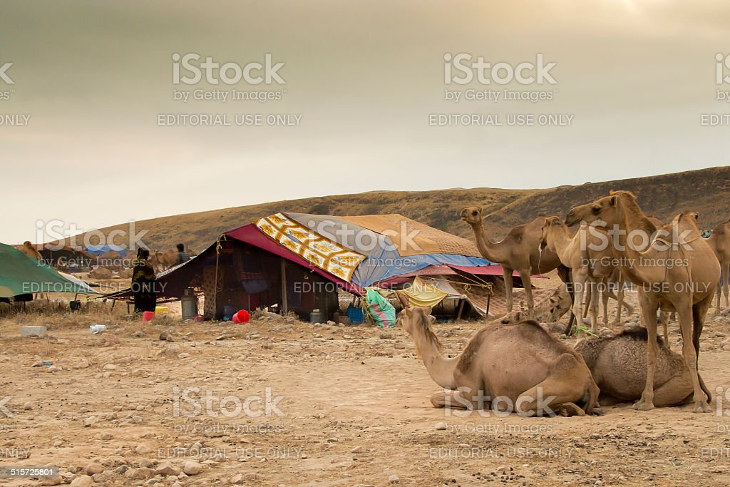 Bedu camp in the plains of Dhofar, Oman stock photo