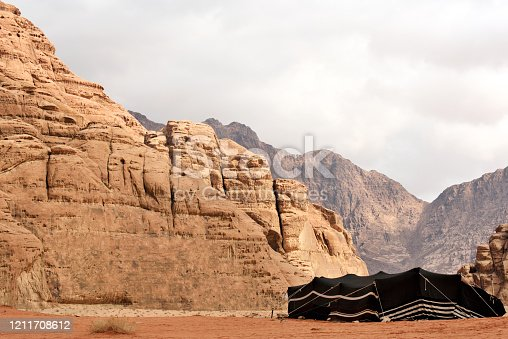 Beduin tourist tents in Wadi Rum desert, Jordan. Wadi Rum is a valley cut into the sandstone and granite rock in southern Jordan
