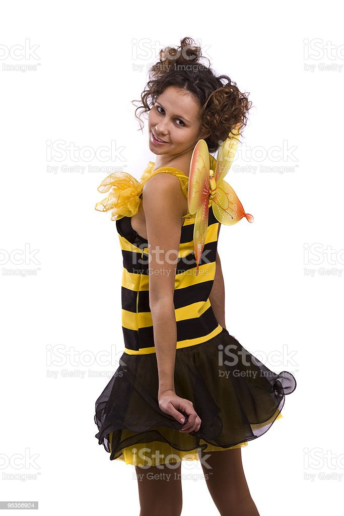 Bee costumes woman. royalty-free stock photo