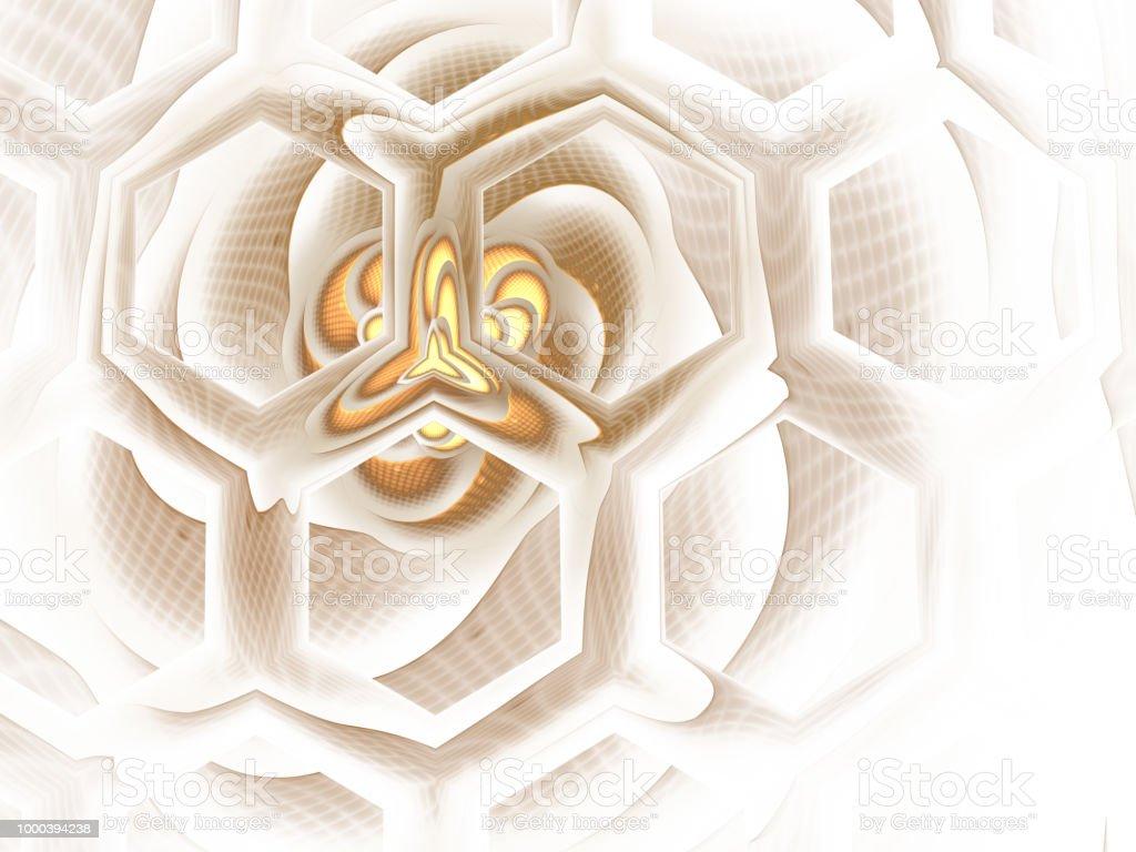 Bee Hive Background. Abstract honey / hive design. Hexagonal texture. Geometric fractal background. Fantasy digital art. 3D rendering. Psychedelic digital art. stock photo