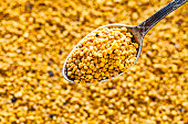 Apiculture industry concepts. Top view of organic bee pollen granules in a metal spoon shot against defocused pollen texture background. Useful copy space available for text and/or logo. Predominant color is yellow. DSRL studio photo taken with Canon EOS 5D Mk II and Canon EF 100mm f/2.8L Macro IS USM.
