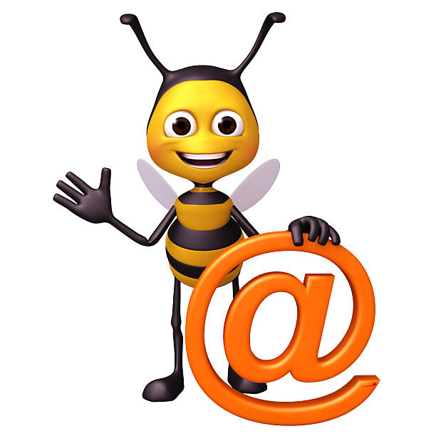 Bee with at mark symbol stock photo
