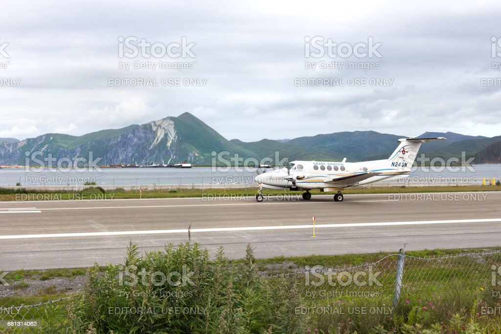 A Beeach King Air 200 at Tom Masden airport, Unalaska. stock photo
