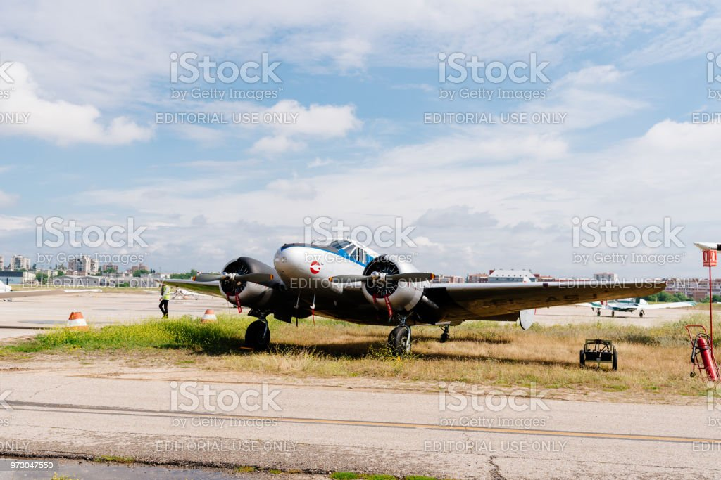 Beechcraft C-45 aircraft during air show stock photo