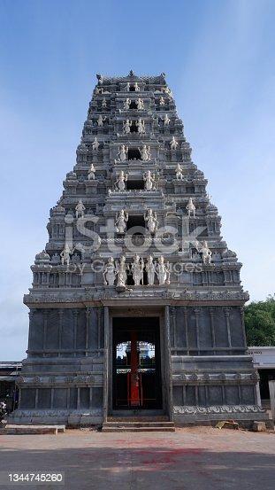 istock Beechupally Anjaneya Swamy Temple Gopura, Dedicated to Lord Hanuman about 200 years old, Telangana, India 1344745260