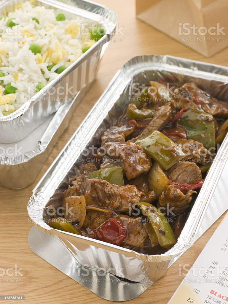Beef And Black Bean Sauce With Egg Fried Rice stock photo