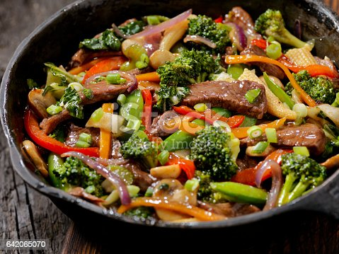 Beef and Broccoli Stir Fry in a Cast Iron Skillet