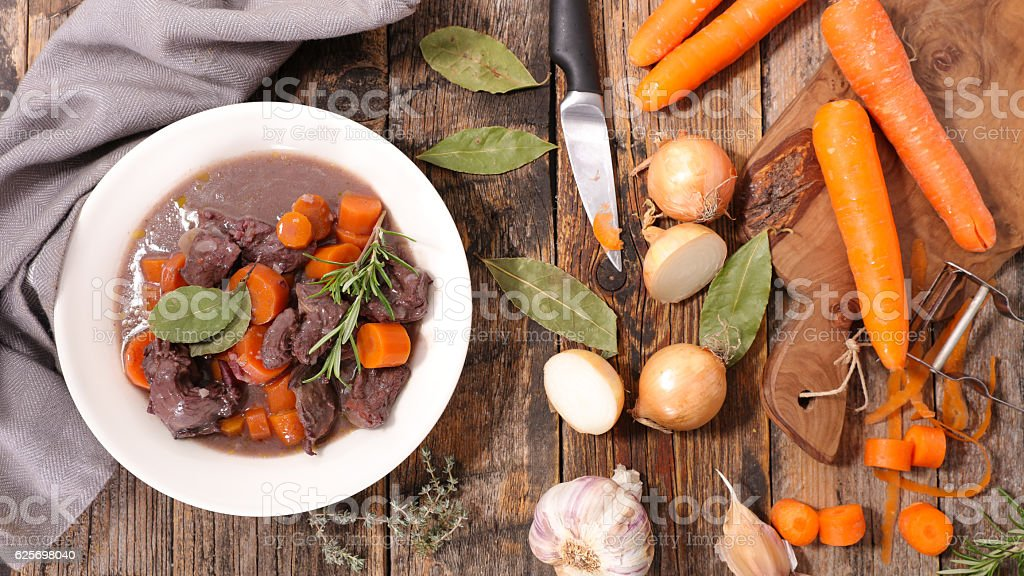 beef and carrot cooked with red wine stock photo