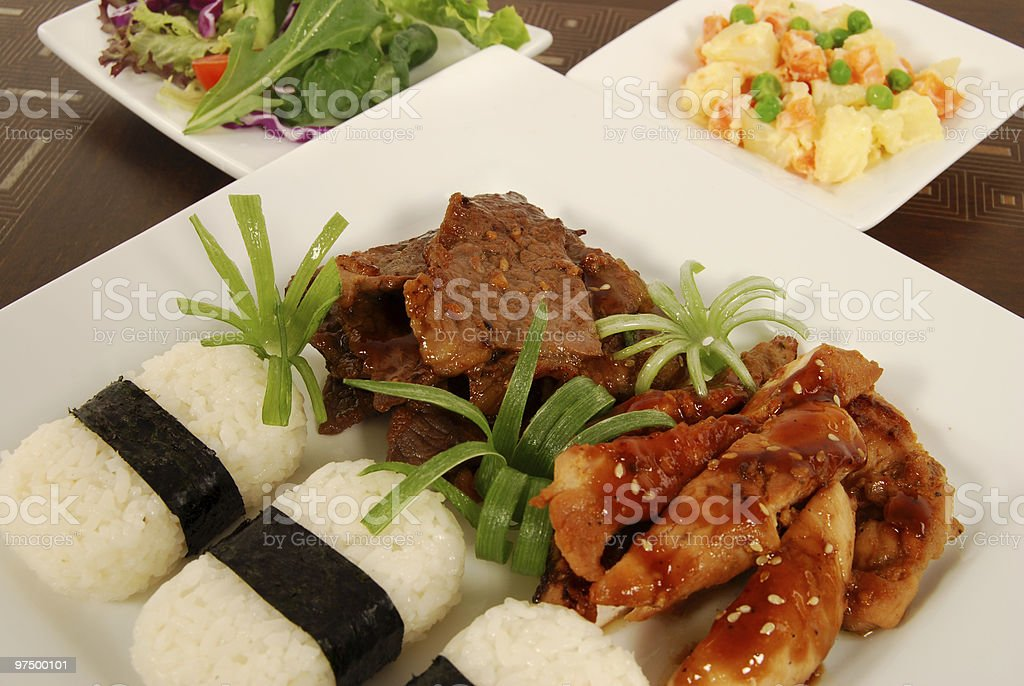 Beef and chicken combo teriyaki with rice royalty-free stock photo