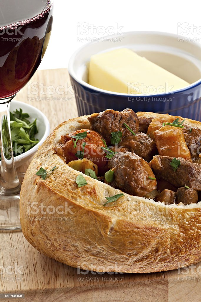 Beef And Dark Beer Stew In A Bread Bowl royalty-free stock photo