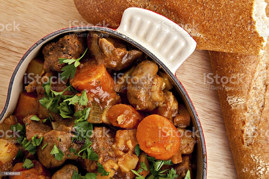 Beef And Dark Beer Stew With French Bread royalty-free stock photo