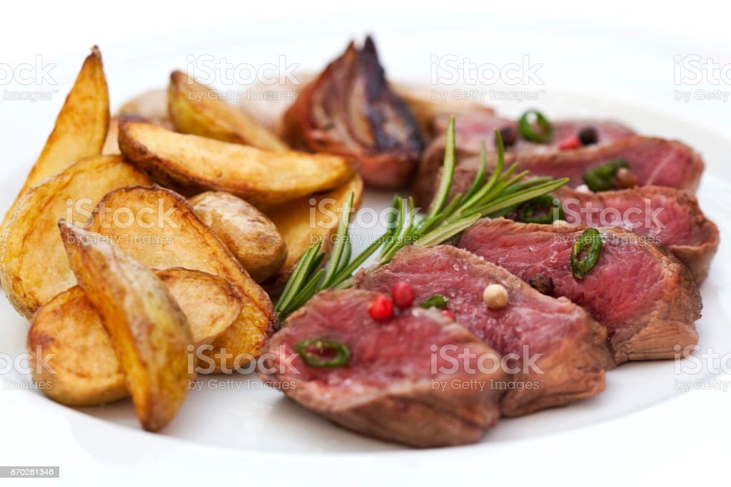 Beef and fries stock photo