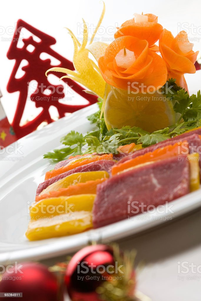 beef and mango plate with christmas decloration royalty-free stock photo