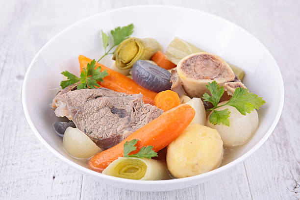 beef and vegetable beef and vegetable pot au feu stock pictures, royalty-free photos & images