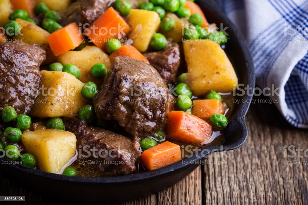 Beef and vegetable stew with potatoes stock photo
