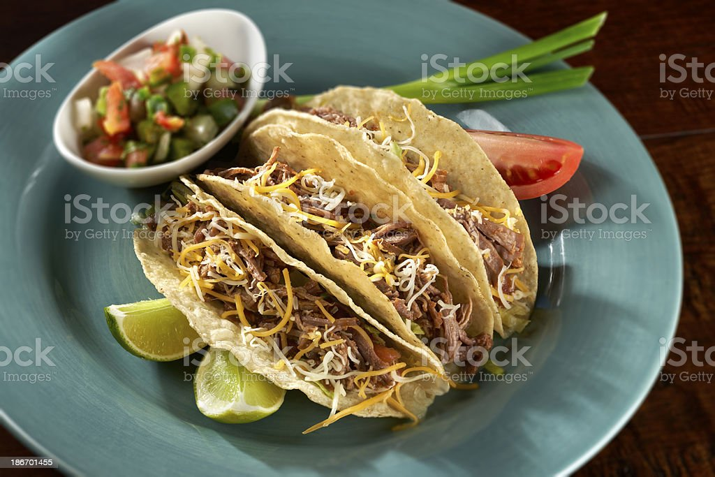 Beef Barbacoa Hard Taco stock photo