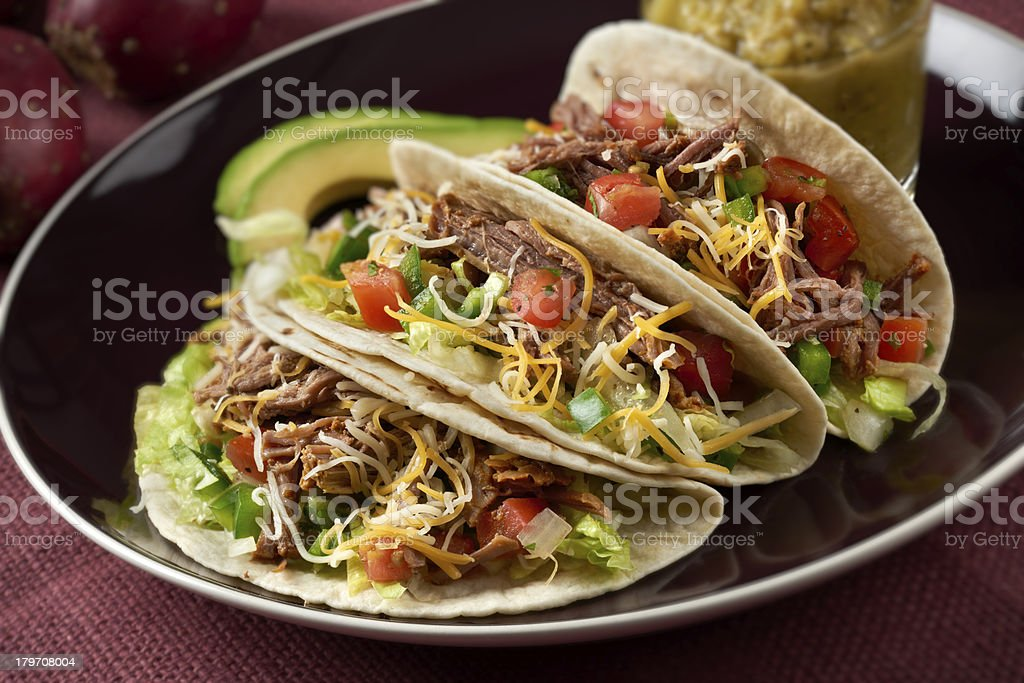 Beef Barbacoa Tacos stock photo