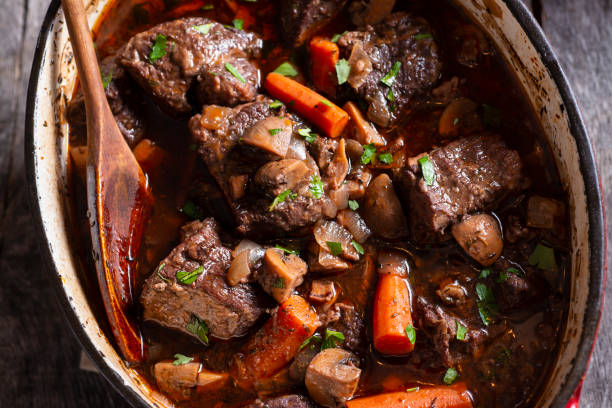 beef bourguignon - braised stock pictures, royalty-free photos & images