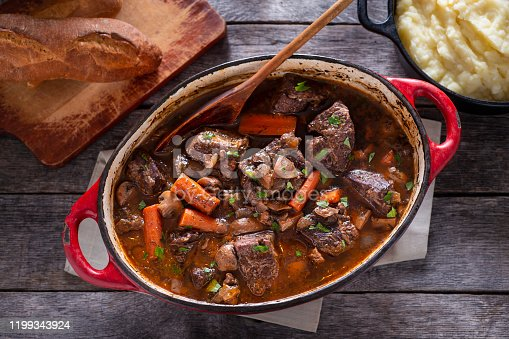 Beef Bourguignon in an Enameled Cast Iron Dutch Oven
