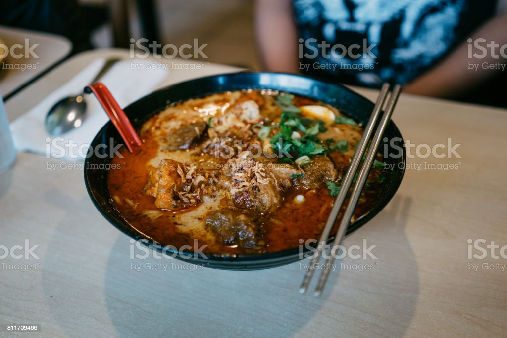 Beef brisket laksa with vermicelli stock photo