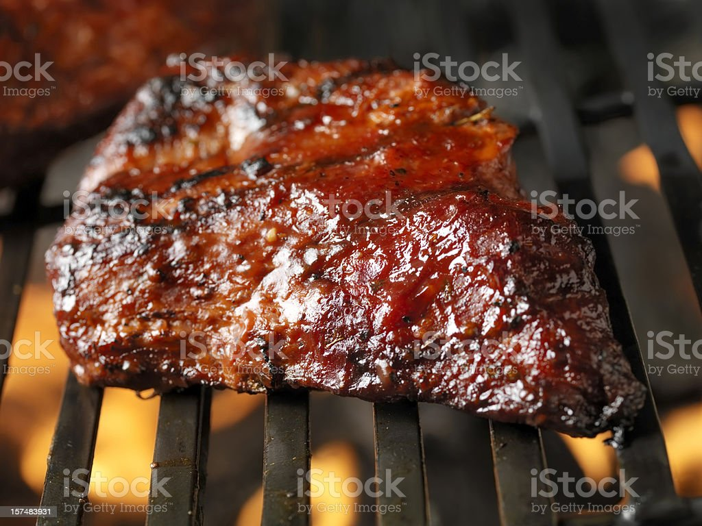 Beef Brisket on the BBQ stock photo