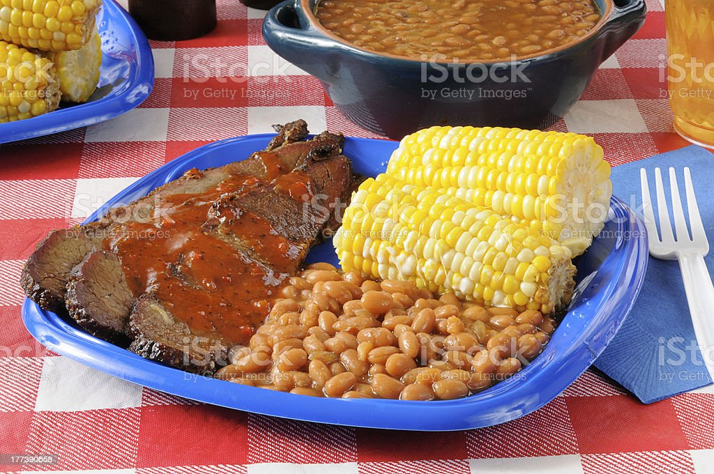 Beef brisket with Boston baked beans stock photo