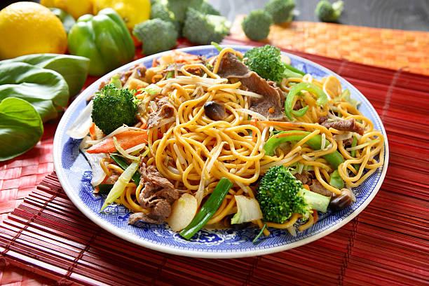 Beef broccoli Chow Mein stock photo