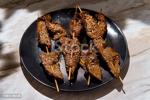 Korean BBQ beef Bulgogi kebab skewer satay with sesame seeds