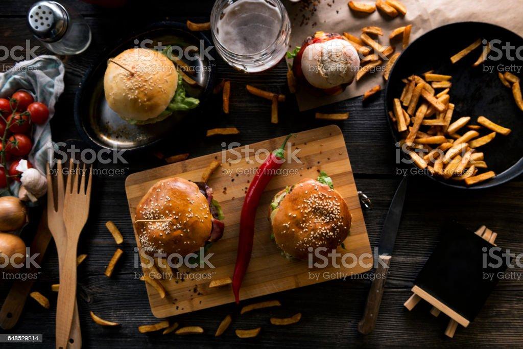 Beef burgers stock photo